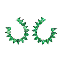Pearshape Emerald Earrings by Nina Runsdorf for Broken English Jewelry