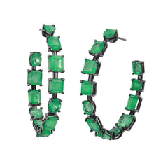 Emerald Mixshape Hoops by Nina Runsdorf for Broken English Jewelry