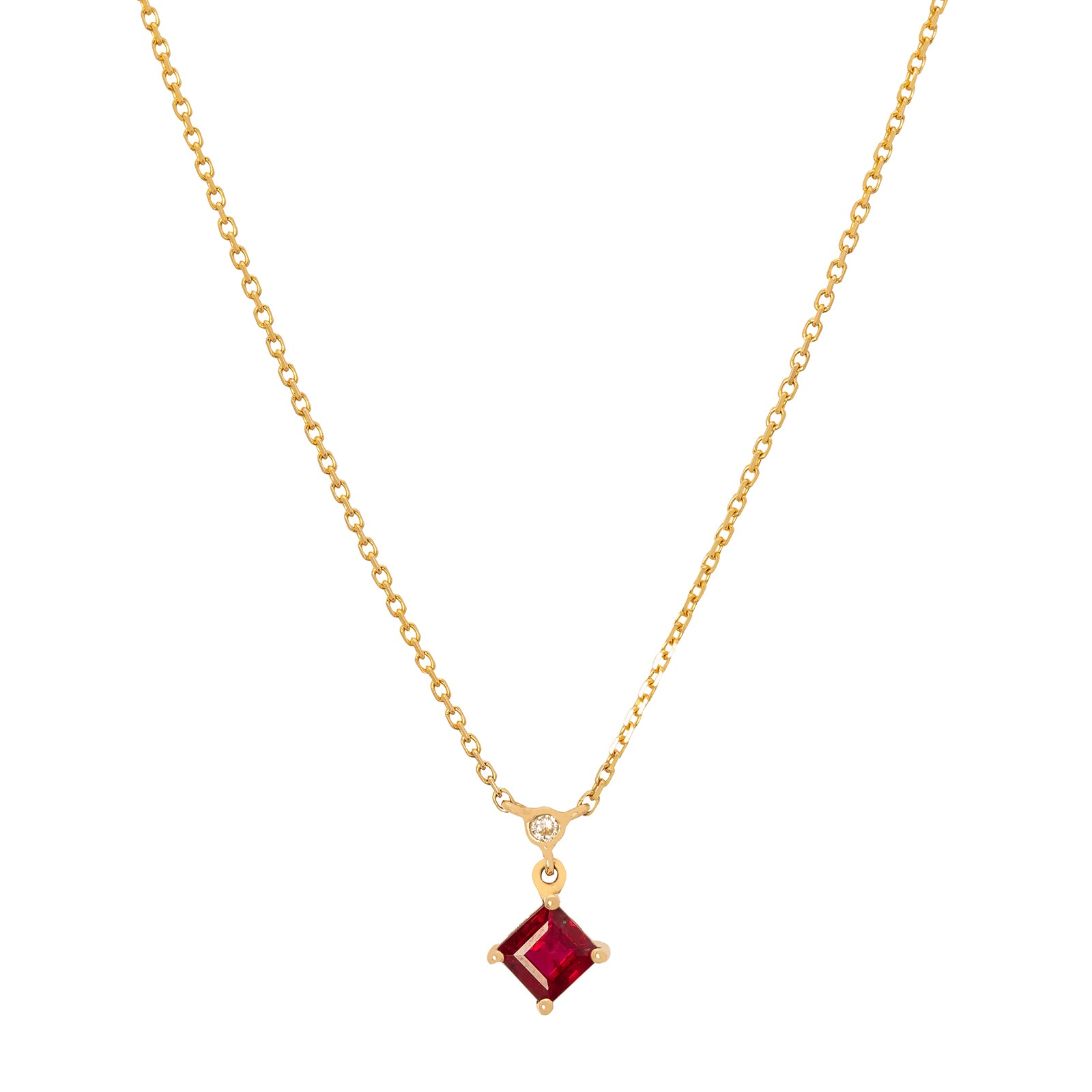 YI Collection Ruby & Diamond Whispers Necklace - Necklaces - Broken English Jewelry