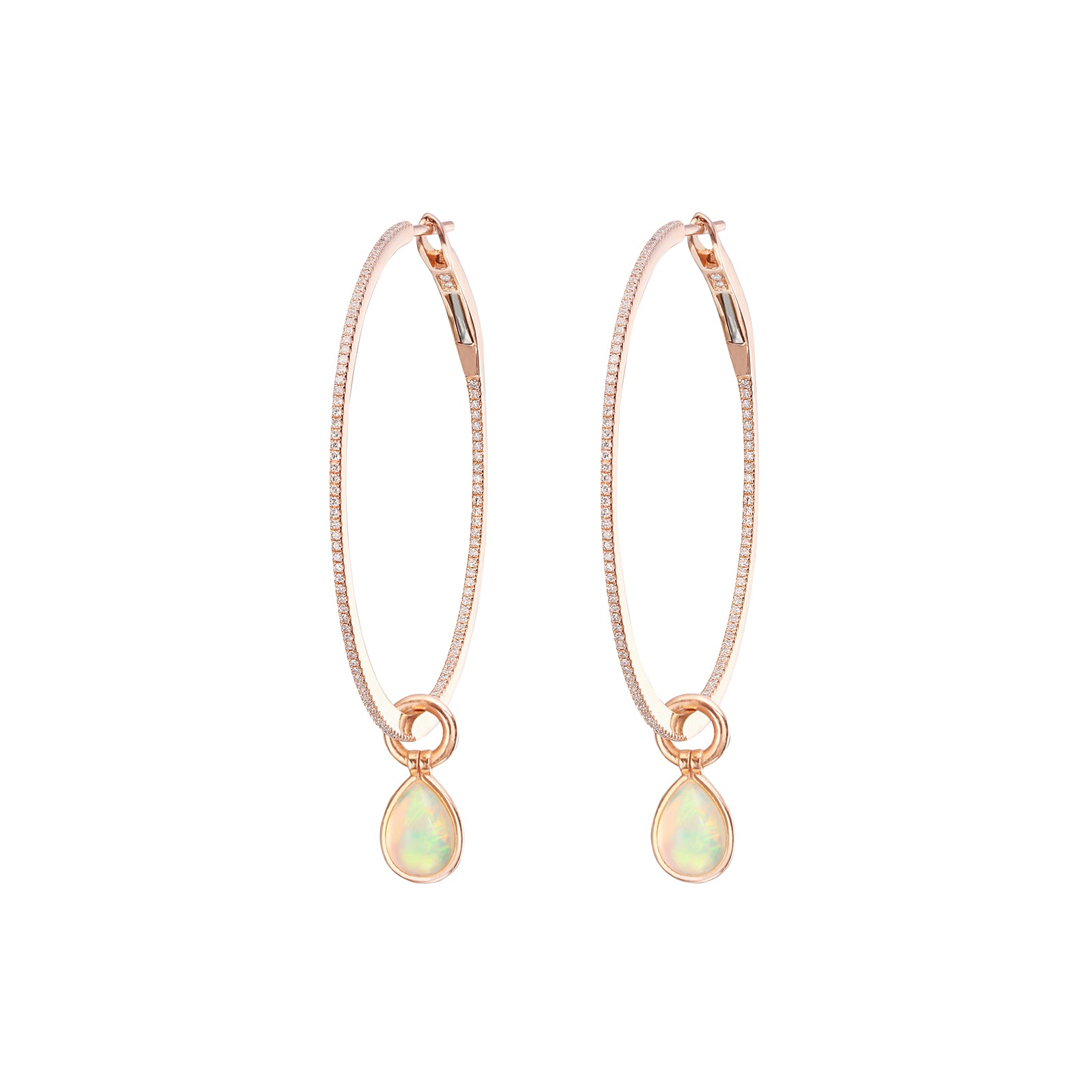 Nina Runsdorf Flip Opal & Diamond String Hoops - Earrings - Broken English Jewelry