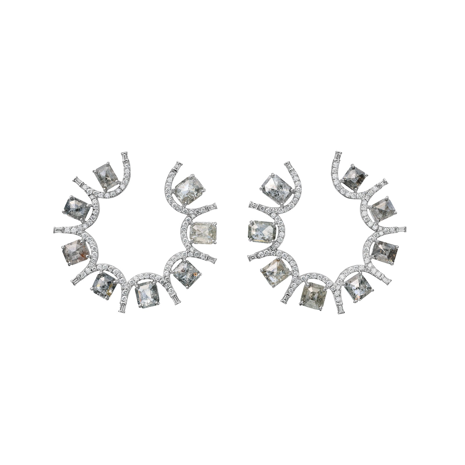 Nina Runsdorf Clair De Lune Grey Rough Baguette Diamond Sideways Hoops - Earrings - Broken English Jewelry