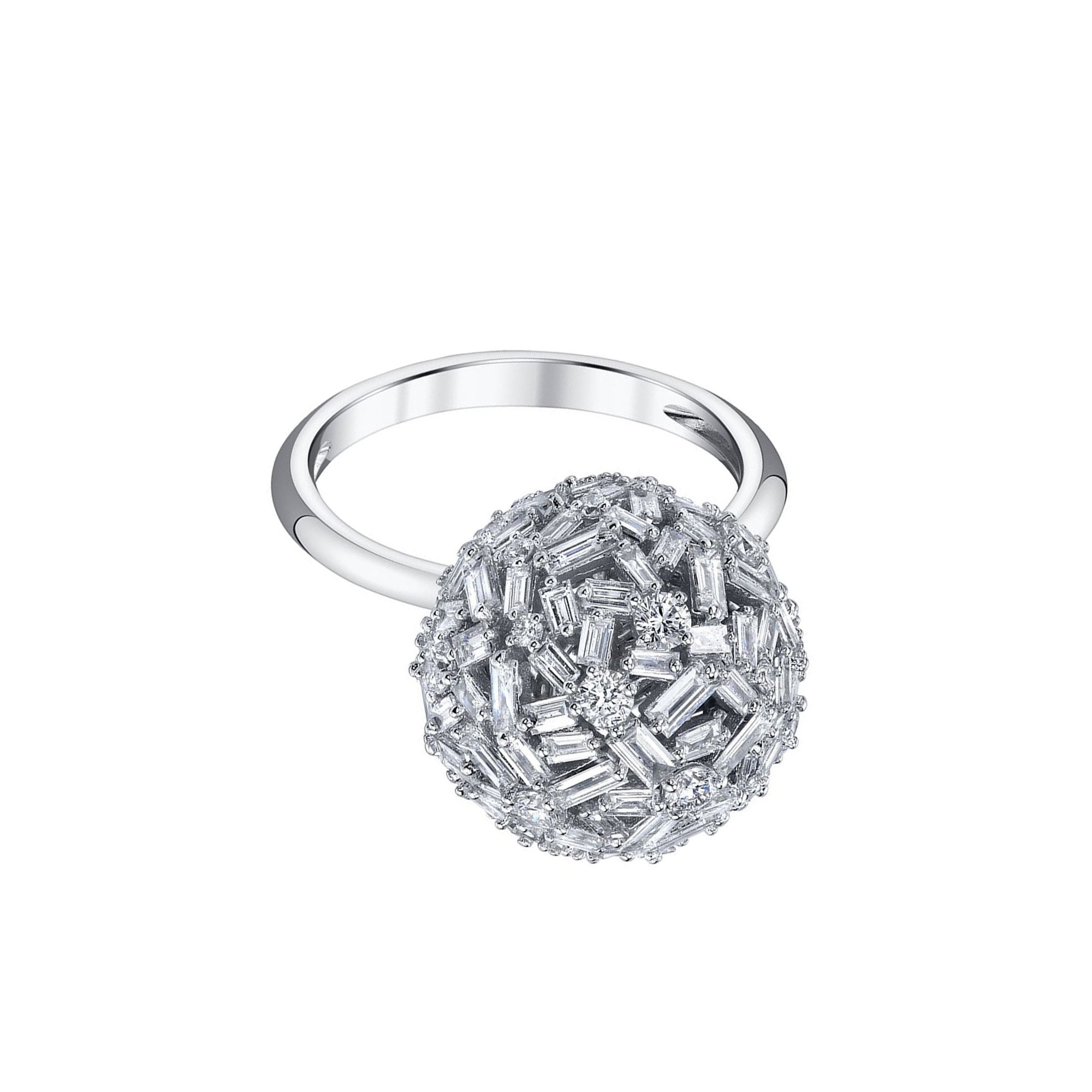 Borgioni Mixed Cut Diamond Ball Ring - White Gold - Rings - Broken English Jewelry