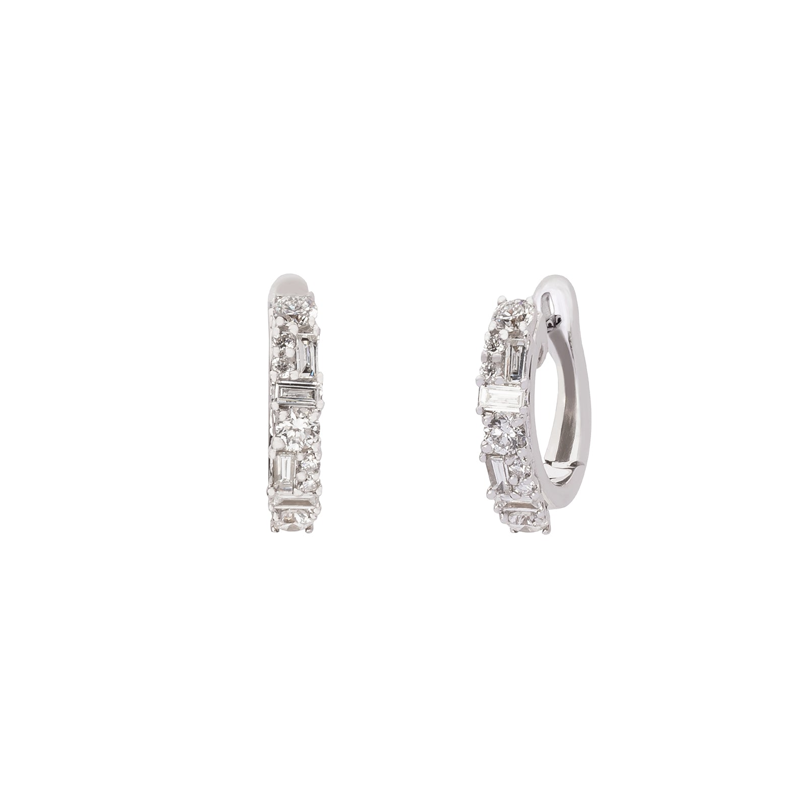 Borgioni Mixed Cut Diamond Huggies - White Gold - Earrings - Broken English Jewelry