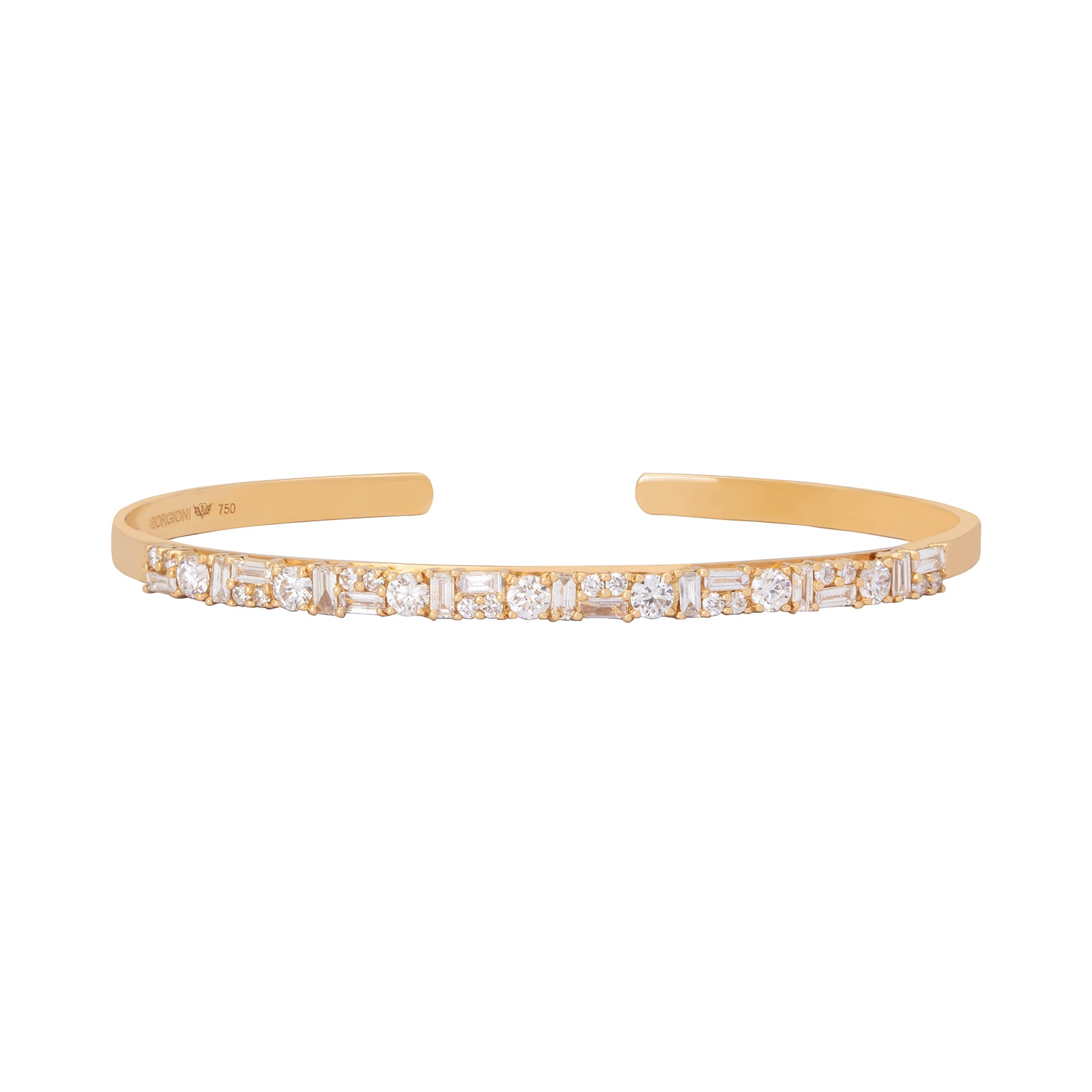 Borgioni Diamond Hinged Bangle - Gold - Bracelets - Broken English Jewelry