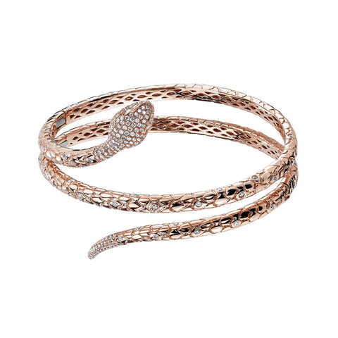 Pave Snake Hinged Cuff - Borgioni - Bracelets | Broken English Jewelry
