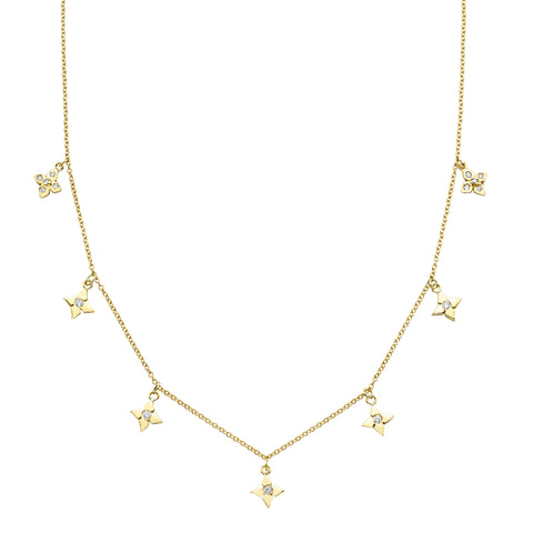 Chain Reaction Multi Clover Pointed Petal Necklace - Ilene Joy - Necklaces | Broken English Jewelry