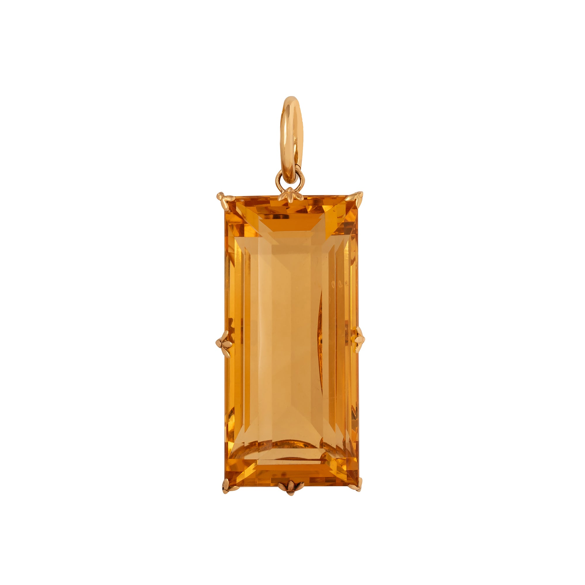 Antique & Vintage Jewelry Emerald Cut Citrine Pendant - Charms & Pendants - Broken English Jewelry