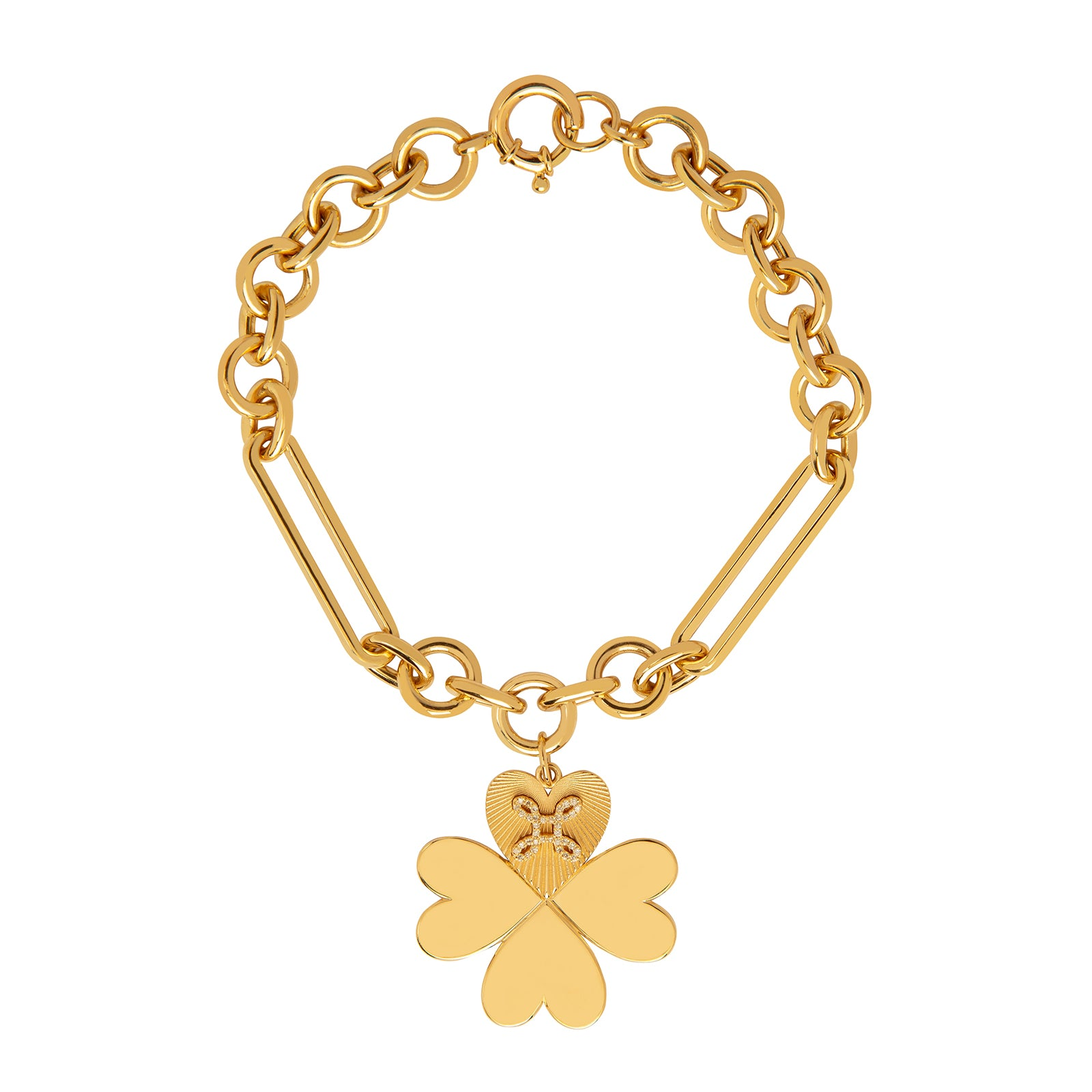 Foundrae Midsize Mixed Clip Bracelet - Four Heart Clover - Bracelets - Broken English Jewelry