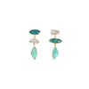 Melissa Joy Manning Three Drop Earrings - Aquamarine, Chrysocolla & Turquoise - Earrings - Broken English Jewelry