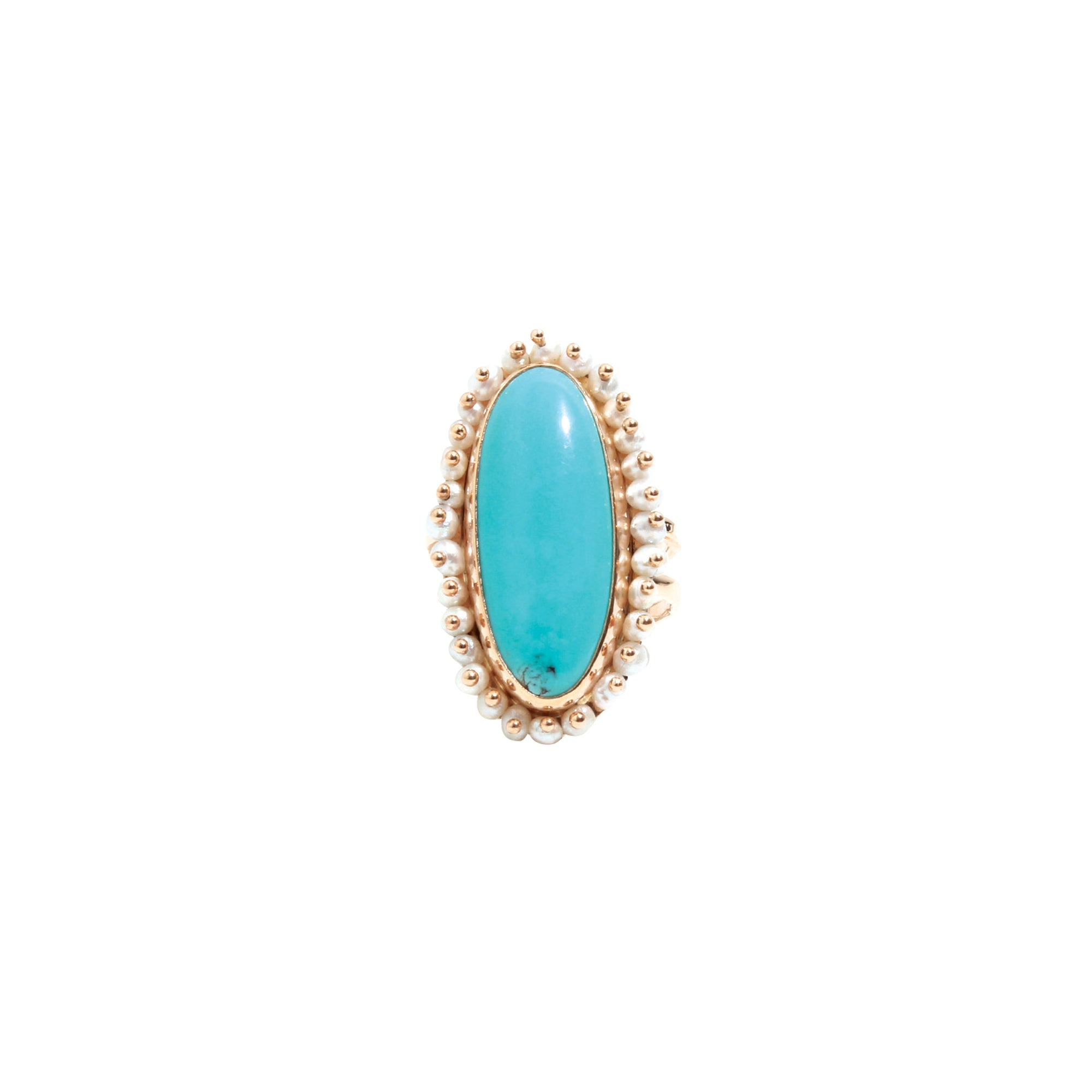 Melissa Joy Manning Oval Ring - Turquoise & Pearls - Rings - Broken English Jewelry
