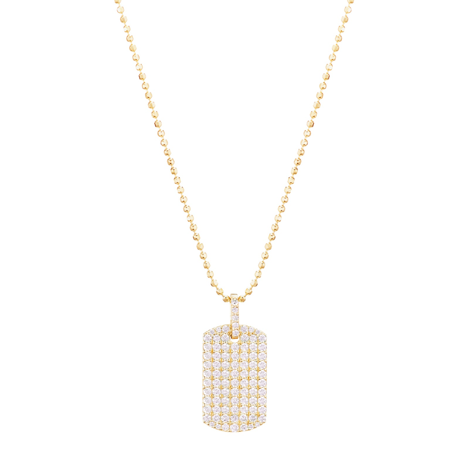 Carbon & Hyde Diamond Dog Tag Necklace - Yellow Gold - Necklaces - Broken English Jewelry