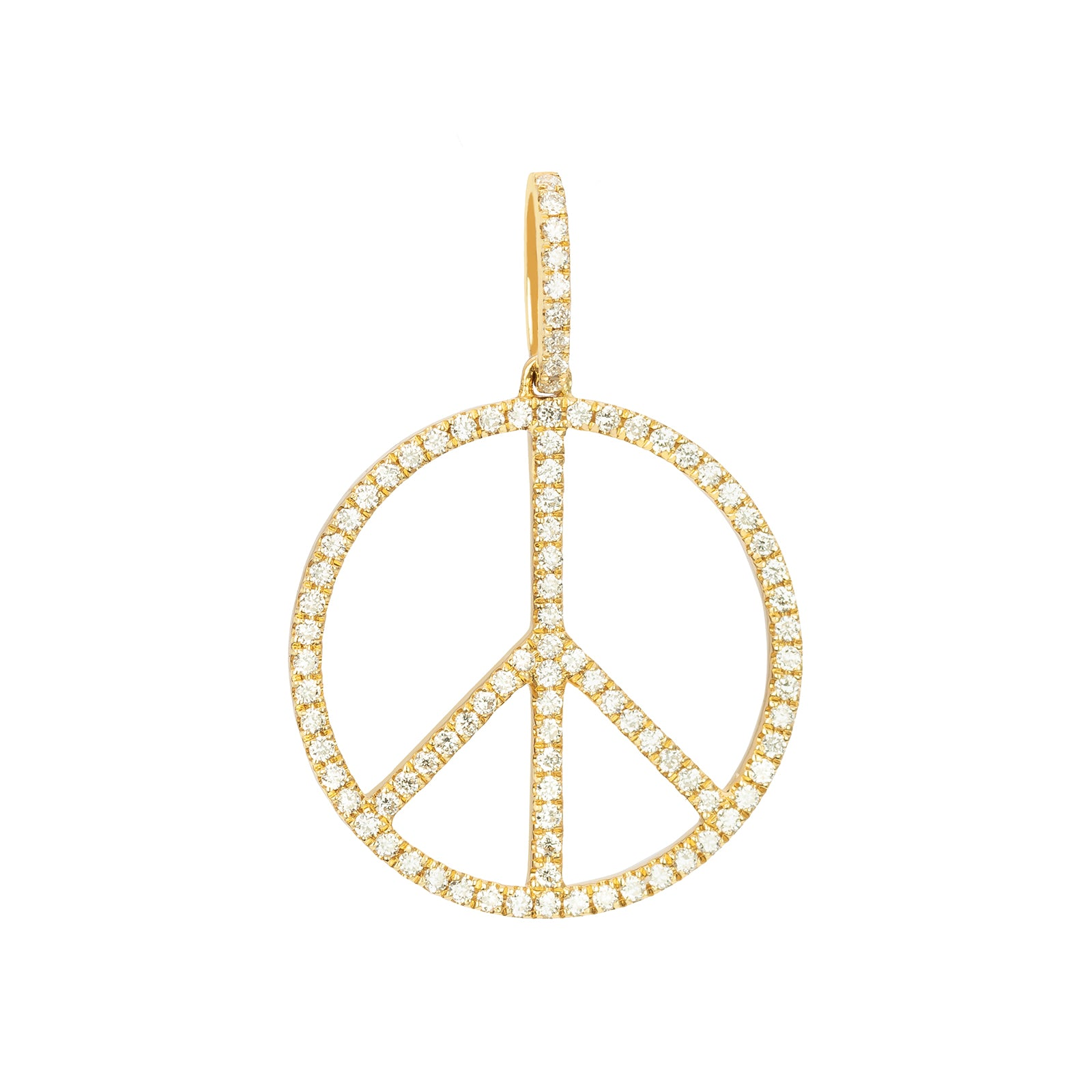 Rosa de la Cruz Peace Diamond Pendant - Yellow Gold 18mm - Charms & Pendants - Broken English Jewelry