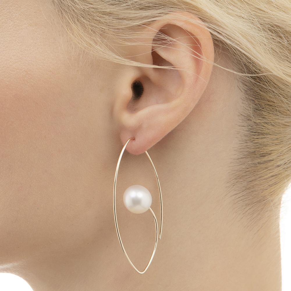 Floating Oval Earrings - South Sea Pearl - Pearl - Earrings - Broken English Jewelry