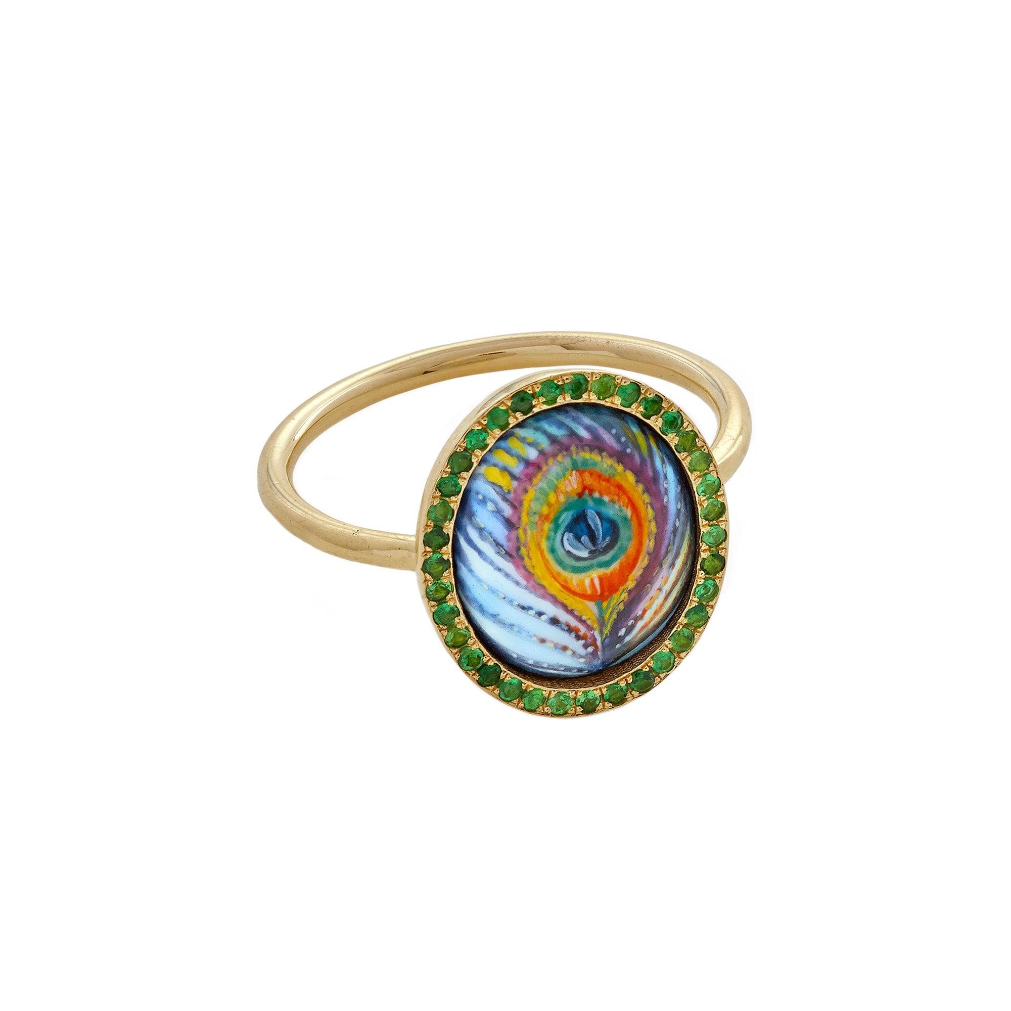 Enamel Peacock Ring - Penelope - Ring | Broken English Jewelry