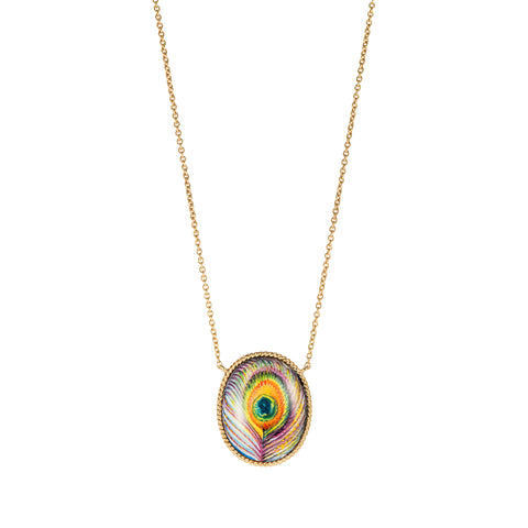 Large Enamel Peacock Necklace - Penelope - Necklace | Broken English Jewelry