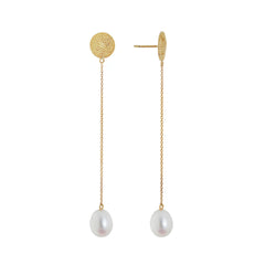 Pearl Drop Chain Earrings - Penelope - Earrings | Broken English Jewelry