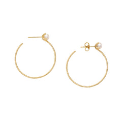 Large Pearl Filigree Hoops - Penelope - Earrings | Broken English Jewelry
