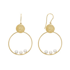 Pearl Earrings With Filigree Disk - Penelope - Earrings | Broken English Jewelry