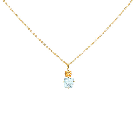Aquamarine and Citrine KLAR Pendant Necklace - MISUI - Necklaces | Broken English Jewelry