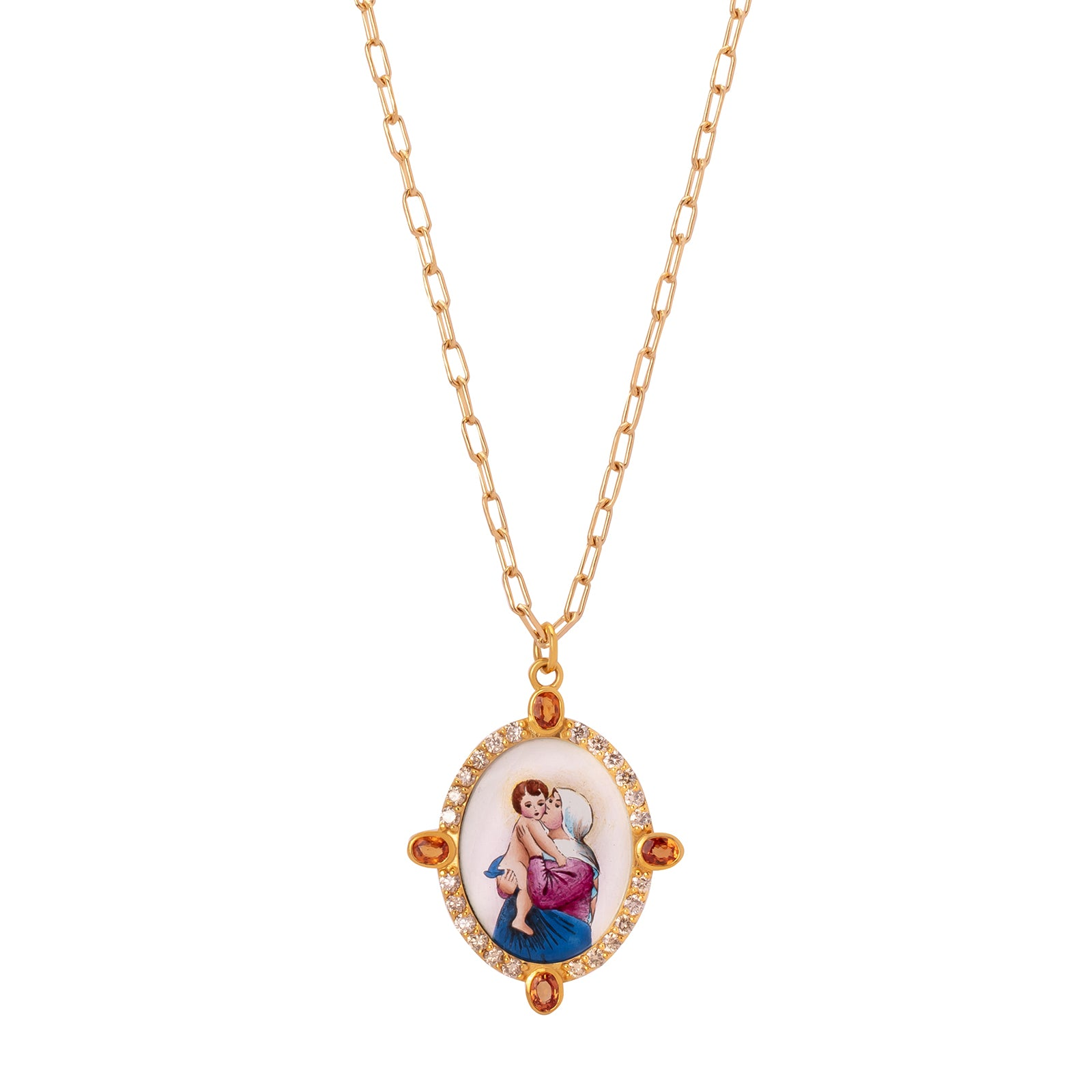 Colette Medallion Necklace - Champagne & Orange Sapphire - Necklaces - Broken English Jewelry