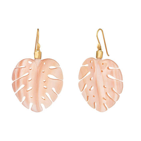Pink Mother of Pearl Palm Leaf Earrings