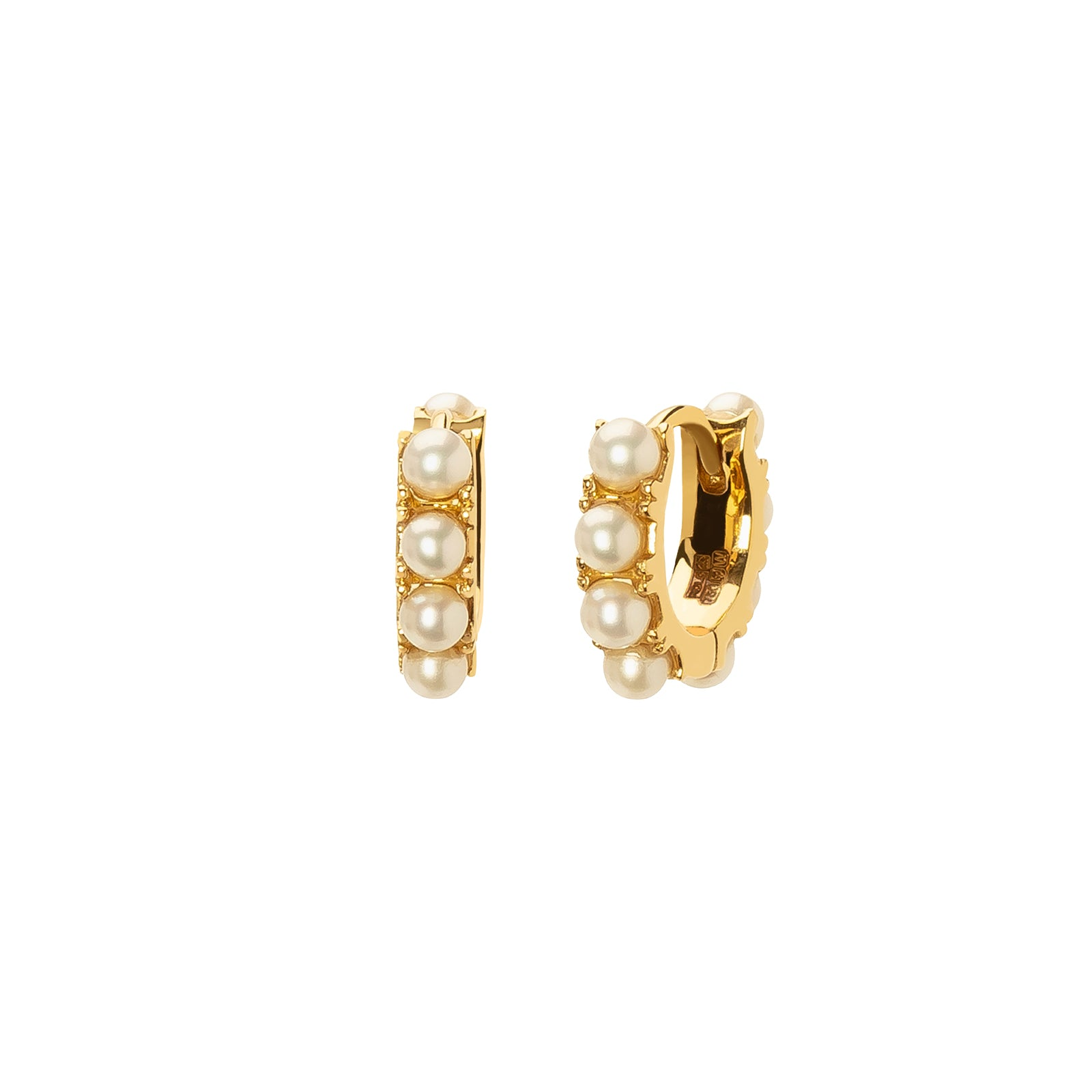 Rosa de la Cruz Mini Hoops - Pearl - Earrings - Broken English Jewelry