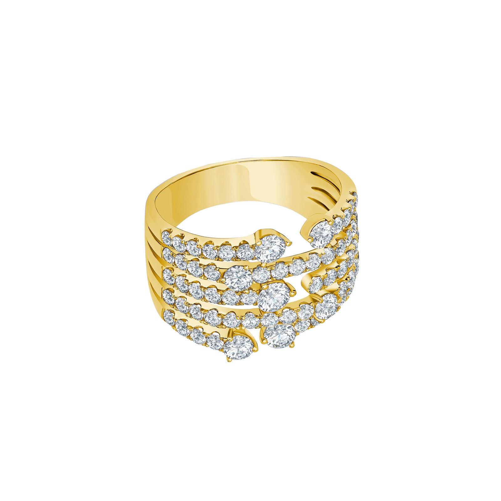 Graziela Medium Cage Diamond Ring - Yellow Gold - Rings - Broken English Jewelry