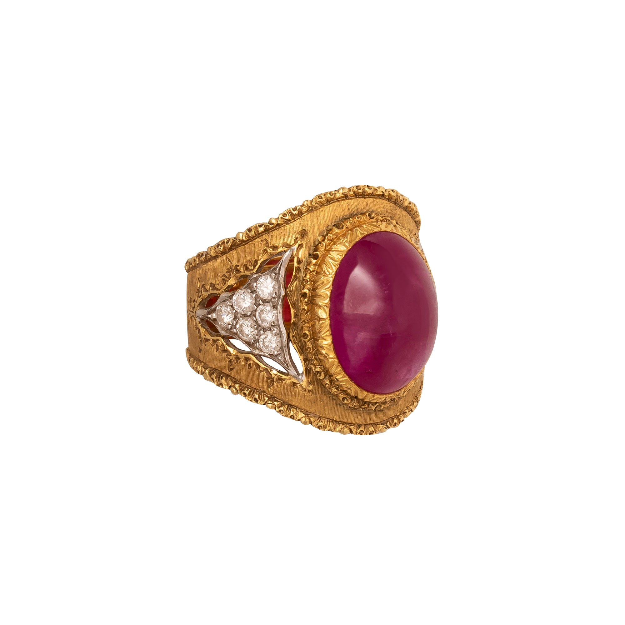Antique & Vintage Jewelry Mario Buccellati Burma Ruby and Diamond Ring - Rings - Broken English Jewelry