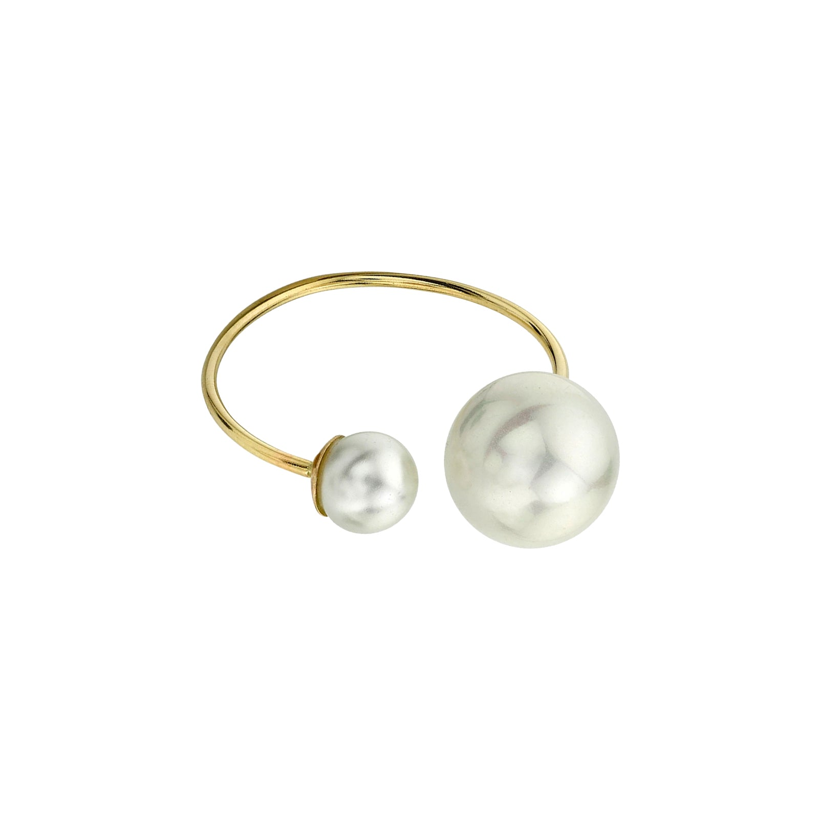 Gabriela Artigas & Company Asymmetrical Suspended Pearl Ring - Yellow Gold - Rings - Broken English Jewelry