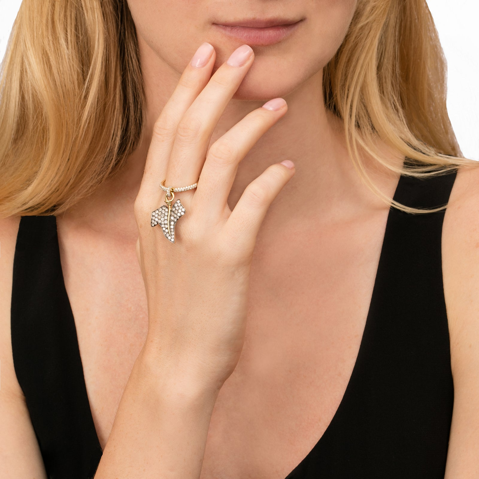 White Diamond Hedera Stacking Ring - Aida Bergsen - Rings | Broken English Jewelry