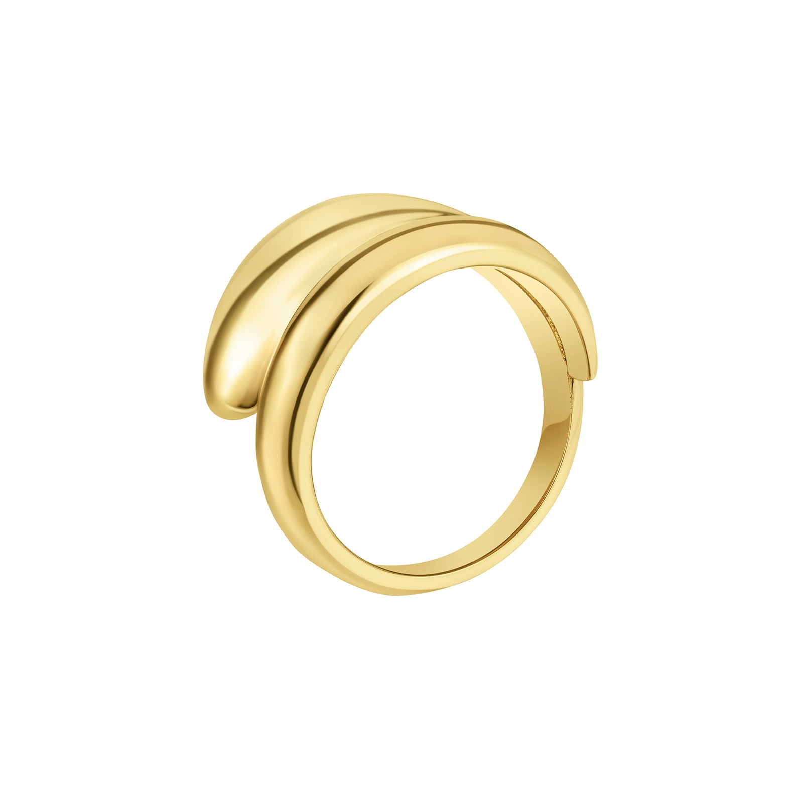 Carbon & Hyde Dome Wrap Ring - Yellow Gold - Rings - Broken English Jewelry