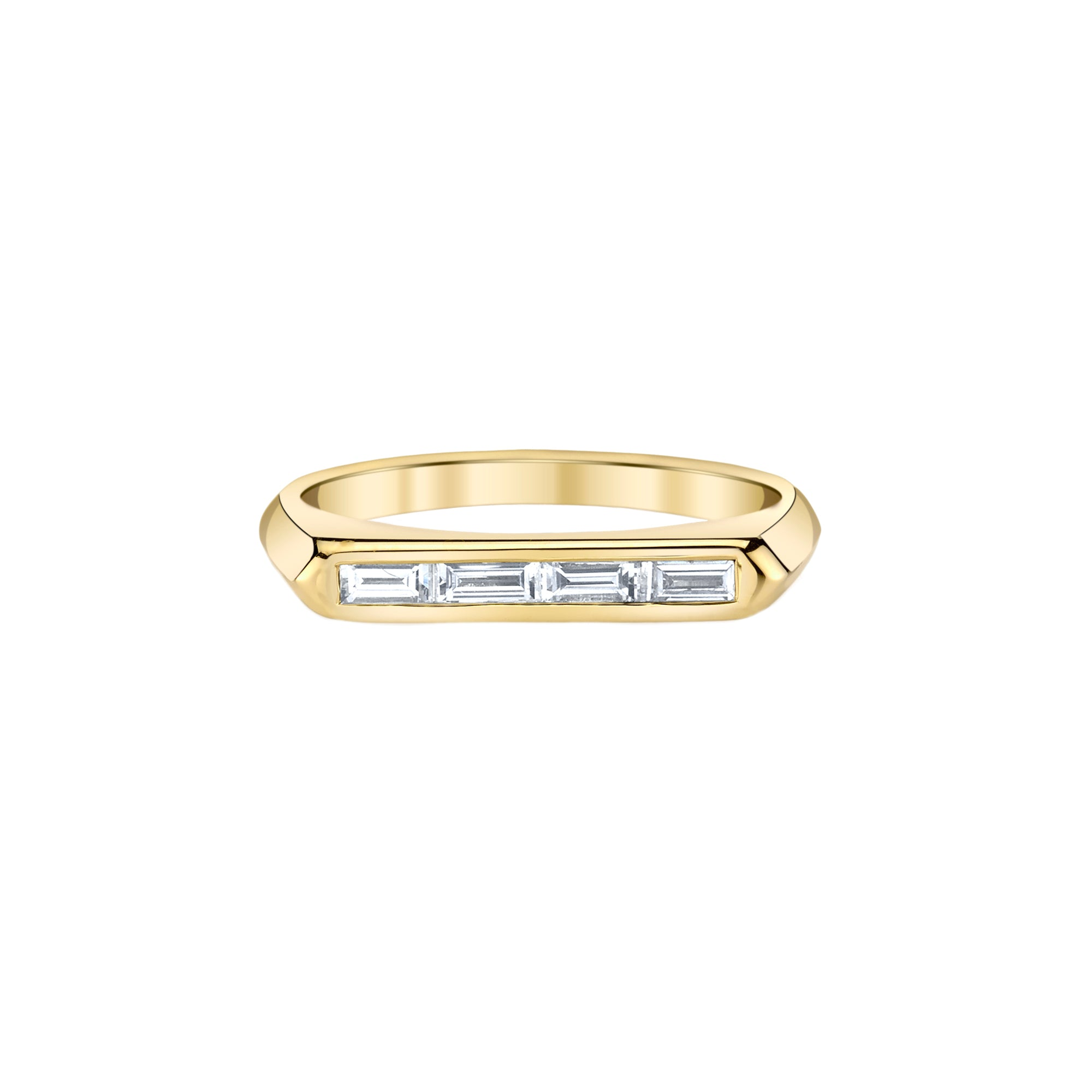 Lizzie Mandler White Baguette Knife Edge Ring - Rings - Broken English Jewelry