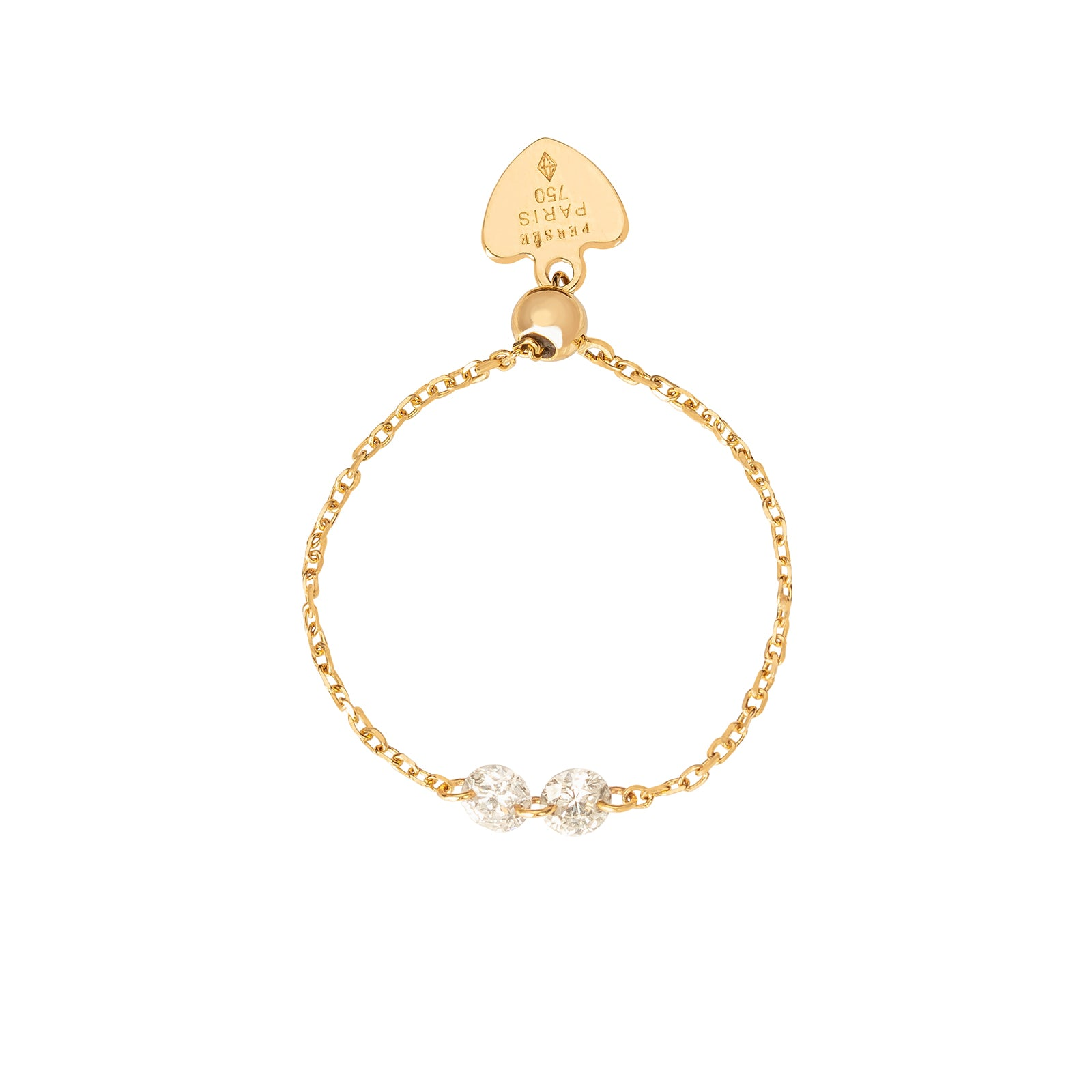 Persée Paris Adjustable Diamond Chain Ring - Yellow Gold - Rings - Broken English Jewelry