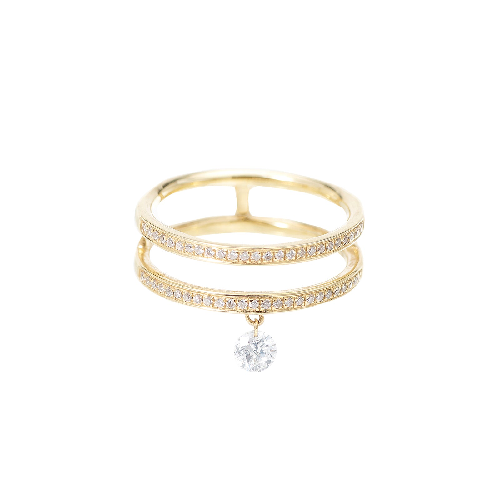 Persée Paris Zéus Double Hoop Diamond Ring - Yellow Gold - Rings - Broken English Jewelry