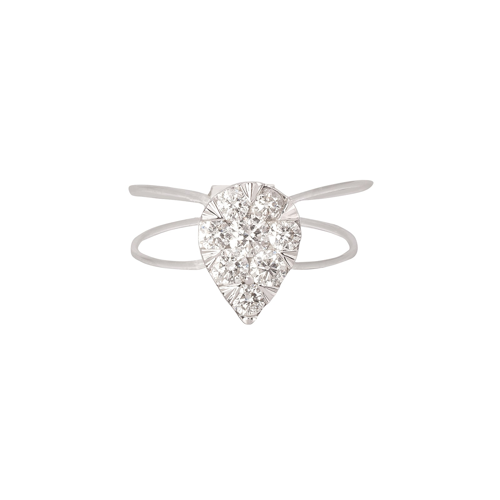 Persée Paris Floating Pear Diamond Nylon Ring - White Gold - Rings - Broken English Jewelry