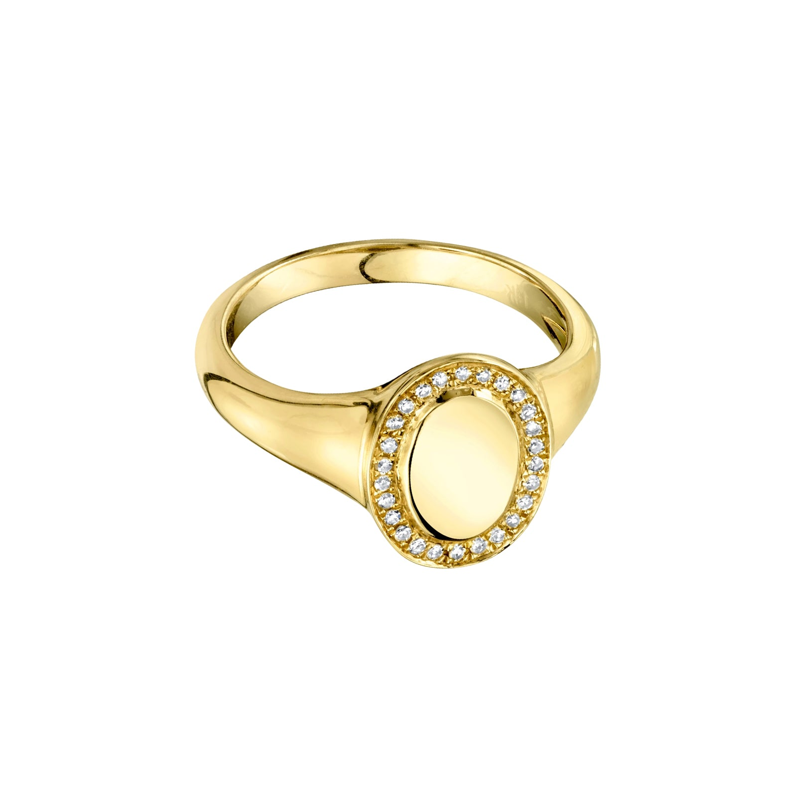 Gabriela Artigas & Company Signet Disc Outline Diamond Ring - Yellow Gold - Rings - Broken English Jewelry