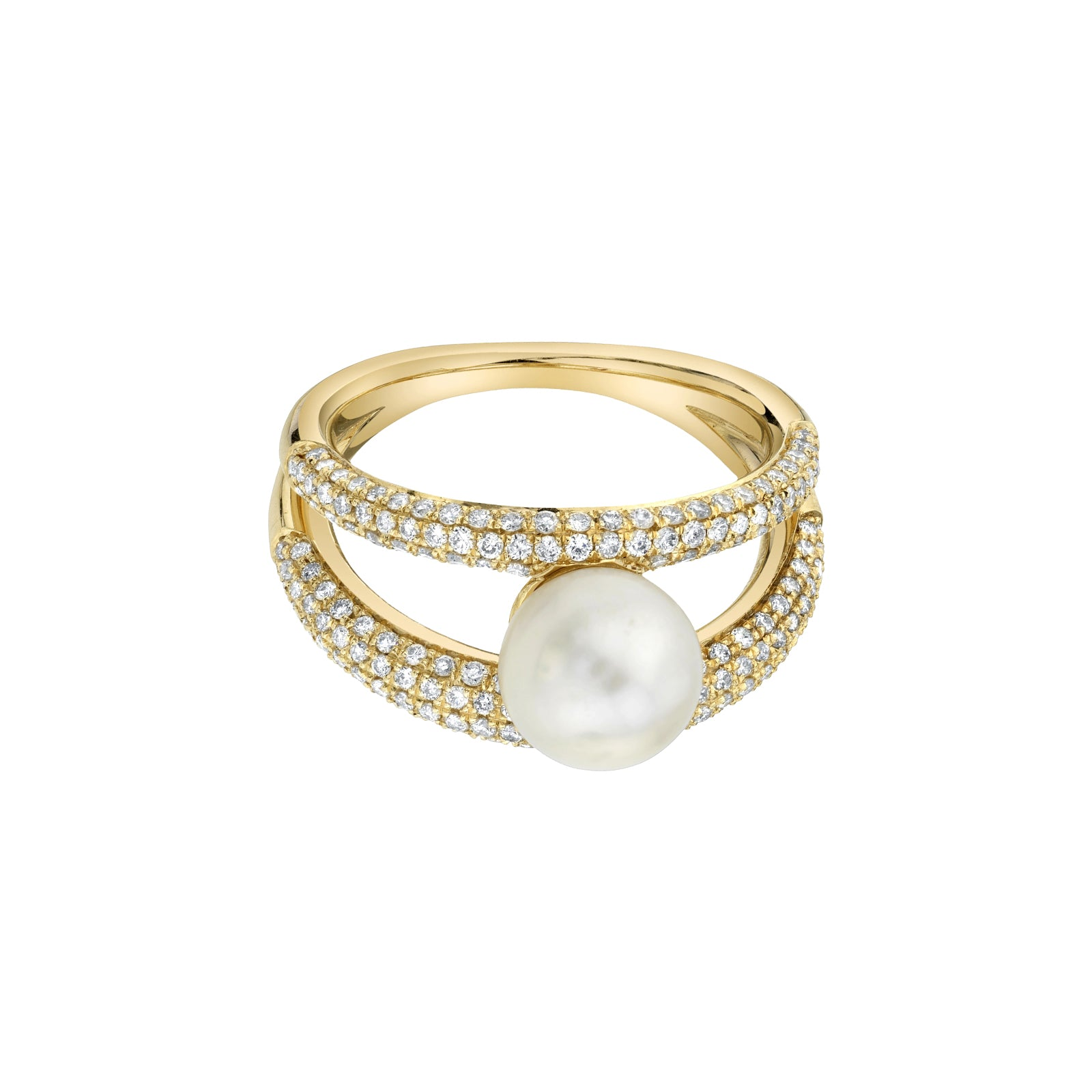 Gabriela Artigas & Company Twin Tusk Suspended Pearl Ring - Yellow Gold - Rings - Broken English Jewelry