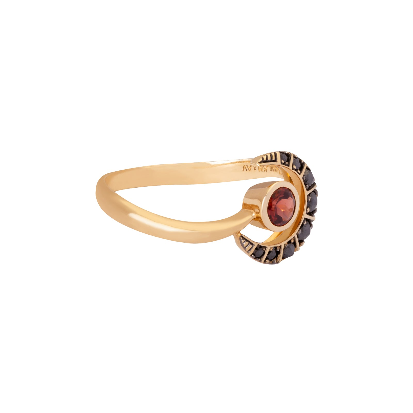 Ara Vartanian Crescent Ring - Garnet - Rings - Broken English Jewelry