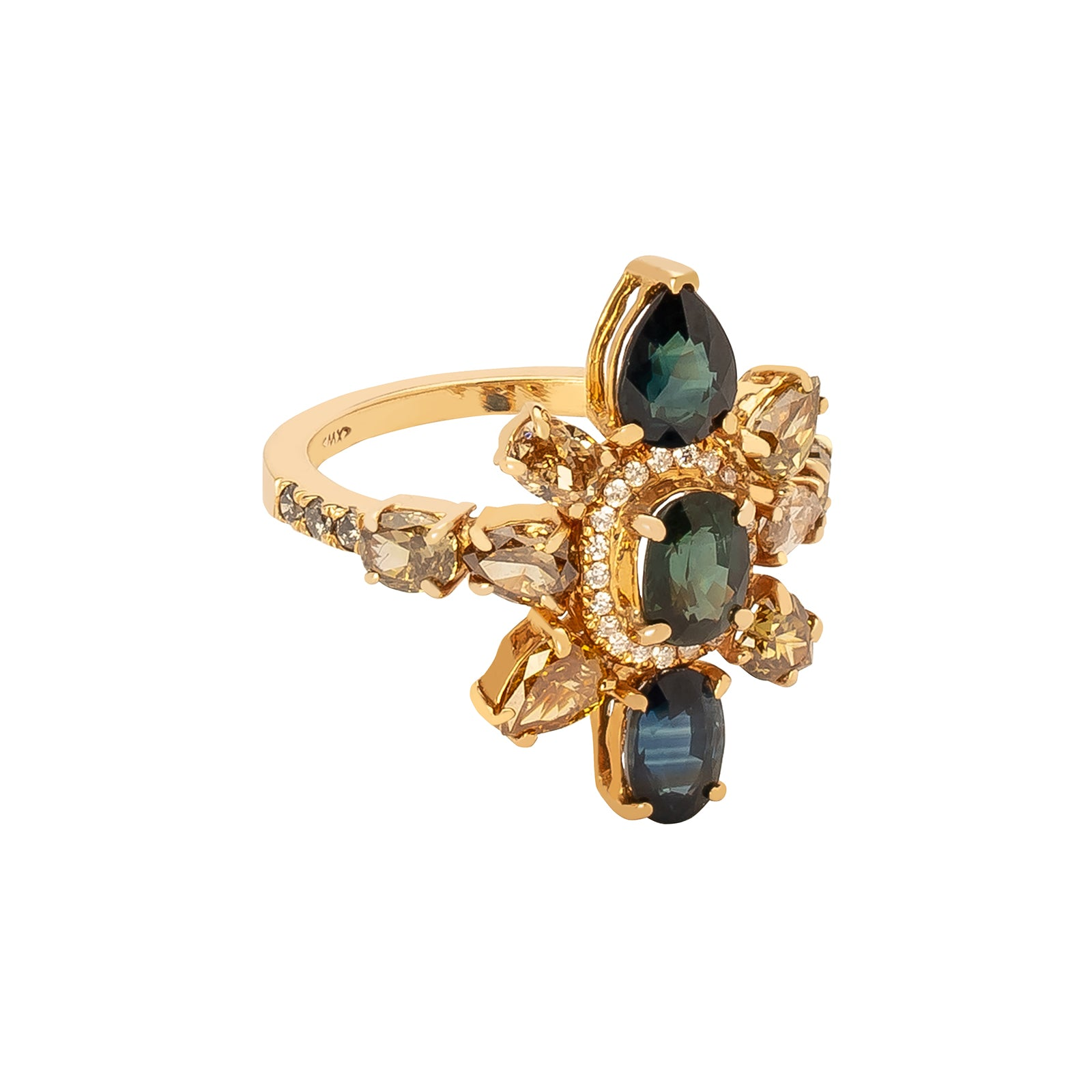 Xiao Wang Galaxy Statement Ring - Mixed Sapphire - Rings - Broken English Jewelry