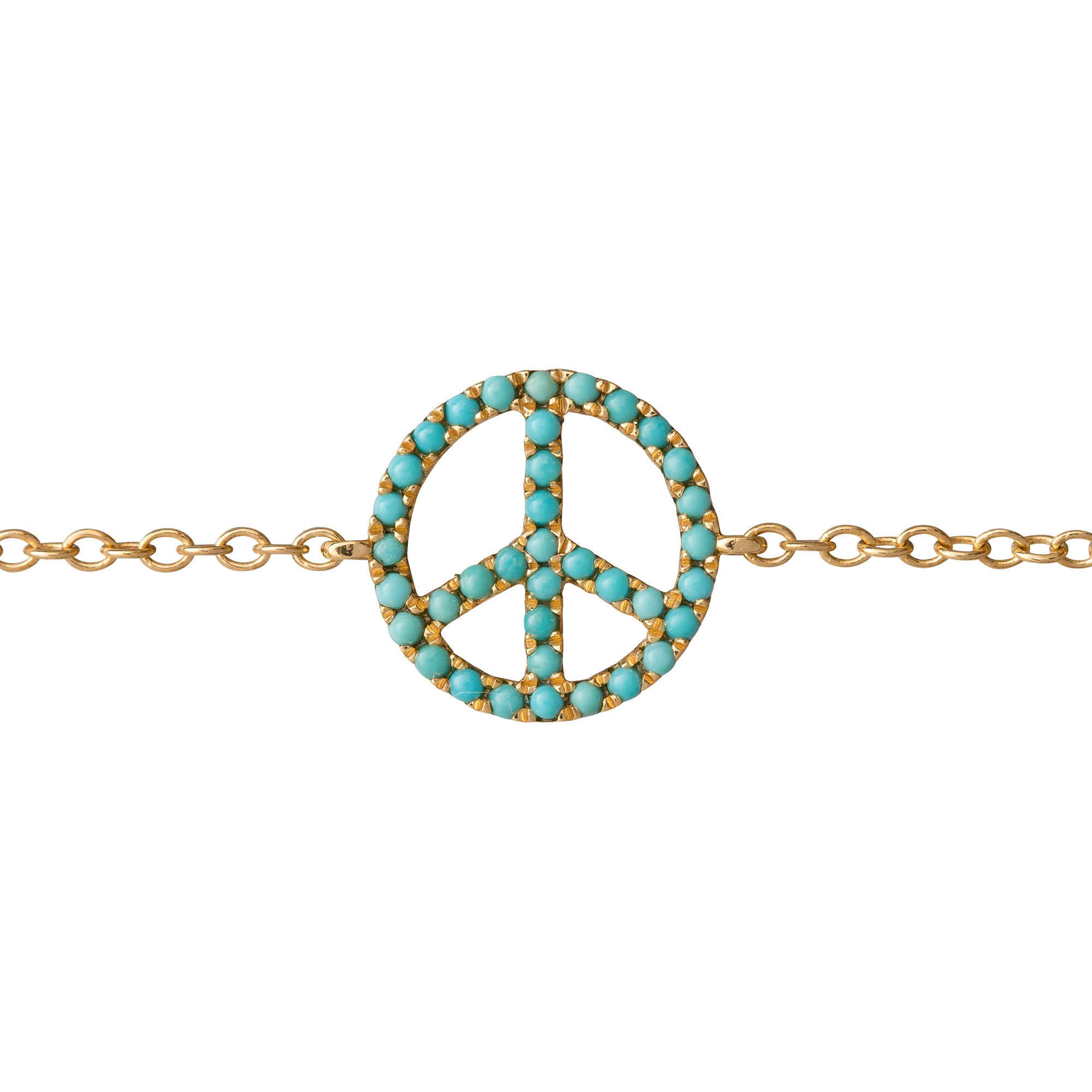 Turquoise Peace Charm Bracelet by Rosa de la Cruz for Broken English Jewelry