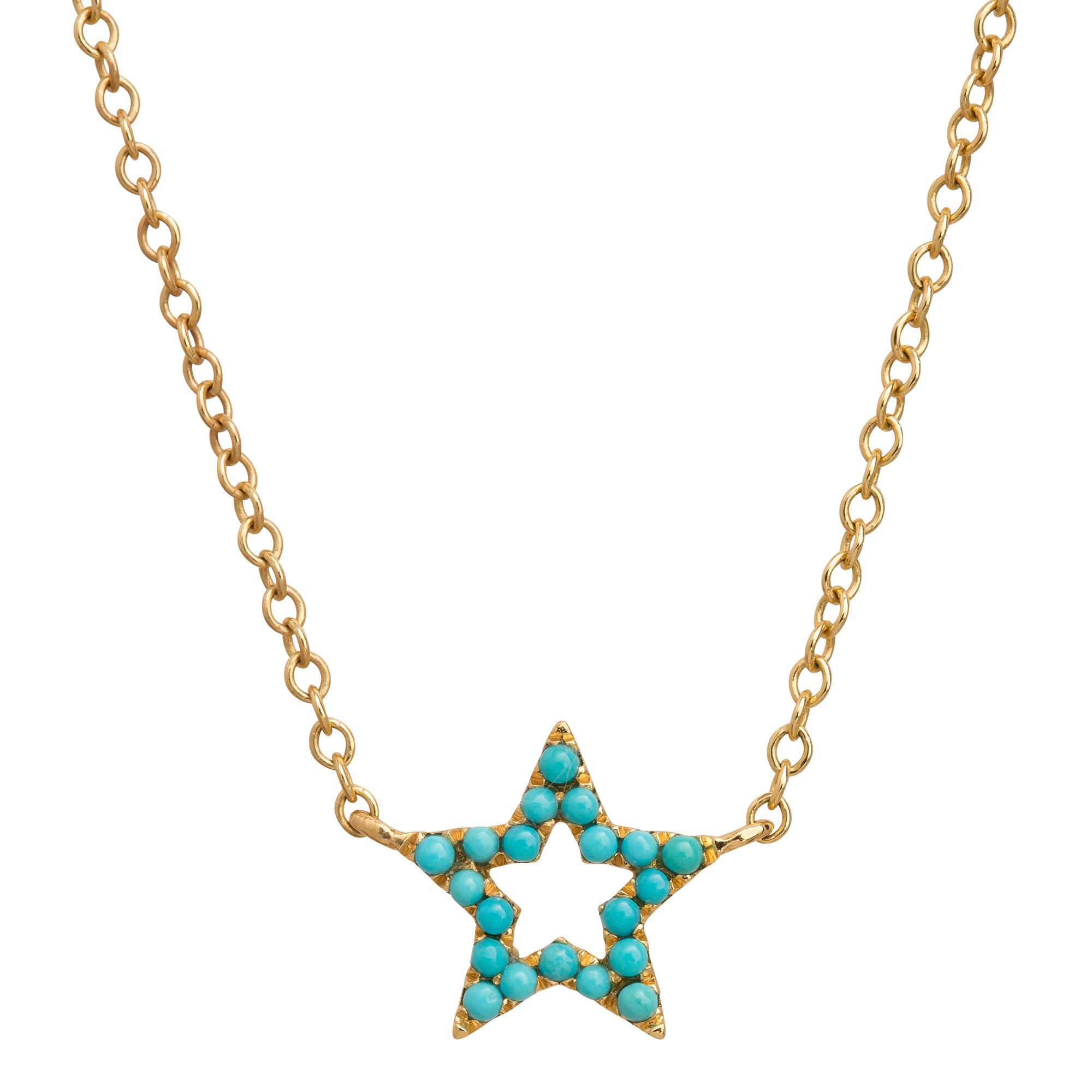 Turquoise Star Charm Necklace by Rosa de la Cruz for Broken English Jewelry