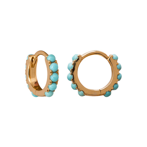 Turquoise Mini Hoops by Rosa de la Cruz for Broken English Jewelry
