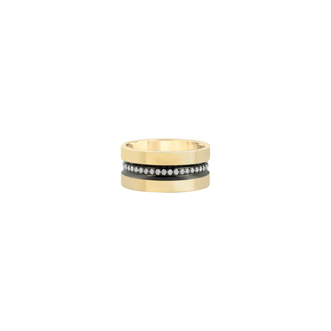 Wide Diamond Line Band with Ruthenium Trim  - Nancy Newberg - Rings | Broken English Jewelry