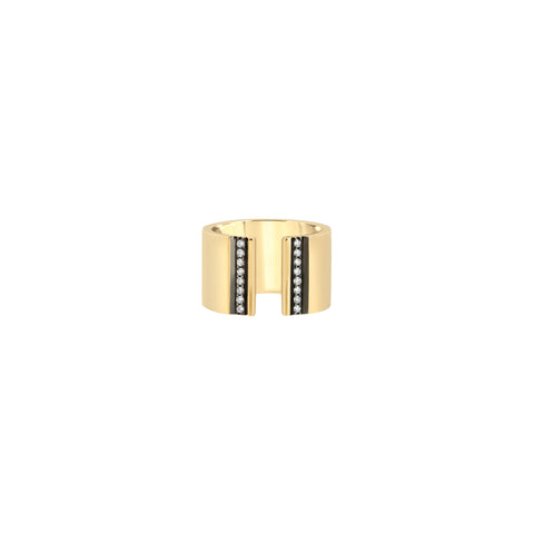 Open-Front Cigar Band with Diamond Stripes and Black Ruthenium Trim - Nancy Newberg - Rings | Broken English Jewelry