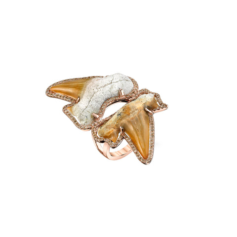 Double Shark Tooth Ring
