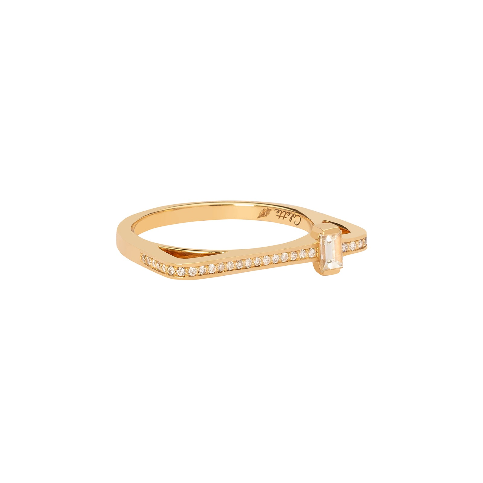 Colette Pave Diamond & Baguette Ring - Yellow Gold - Rings - Broken English Jewelry
