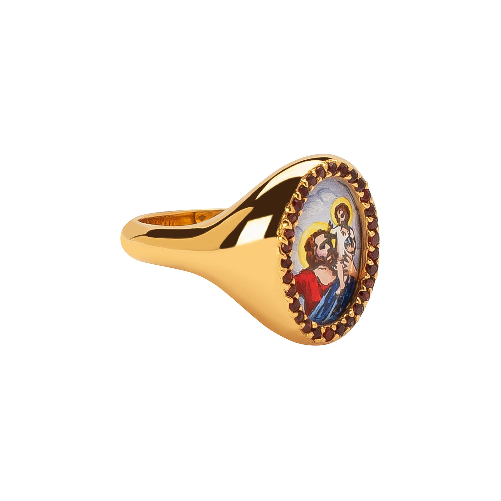 Colette Signet Ring - Ruby - Rings - Broken English Jewelry