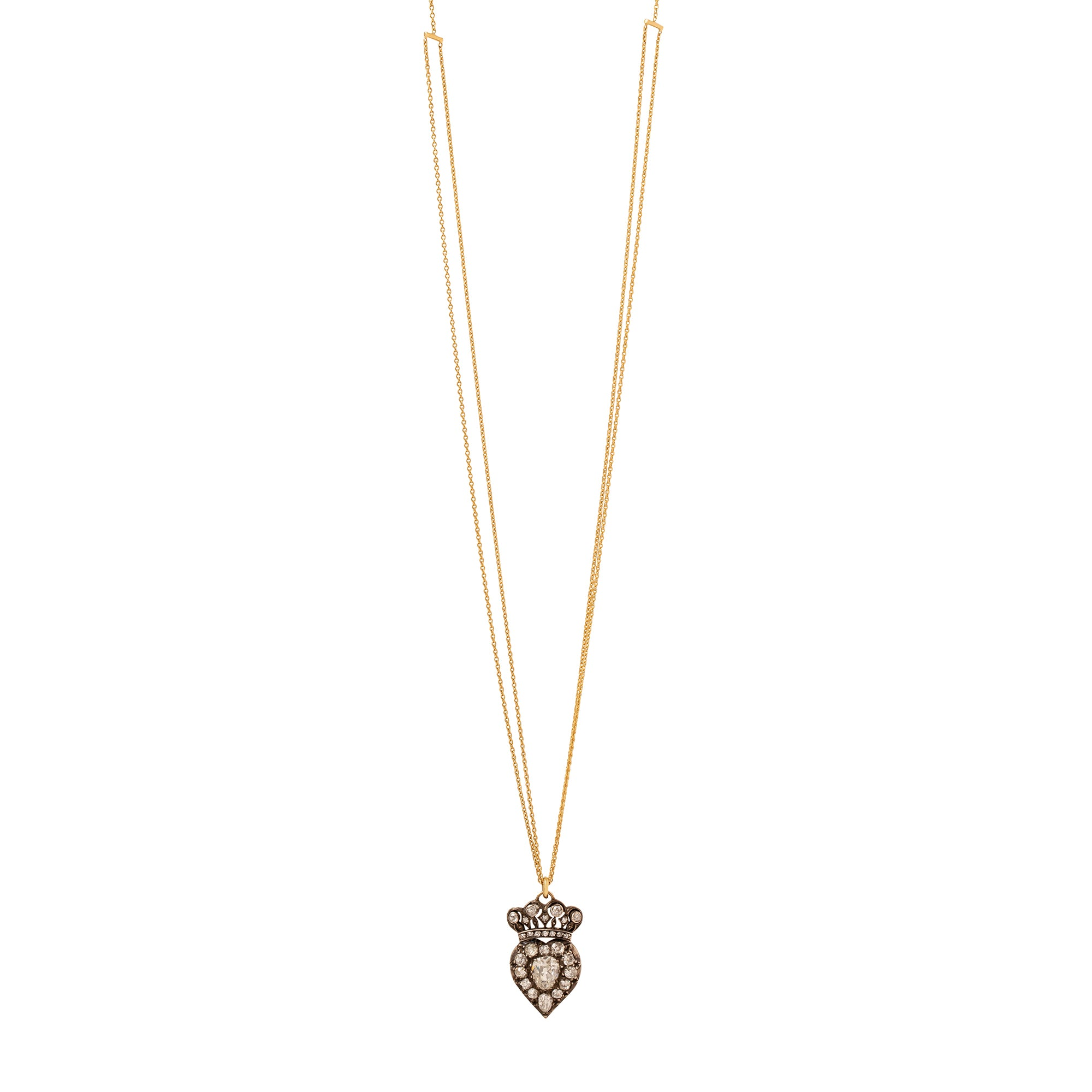 Renee Lewis Antique Diamond Crown Heart Necklace - Necklaces - Broken English Jewelry