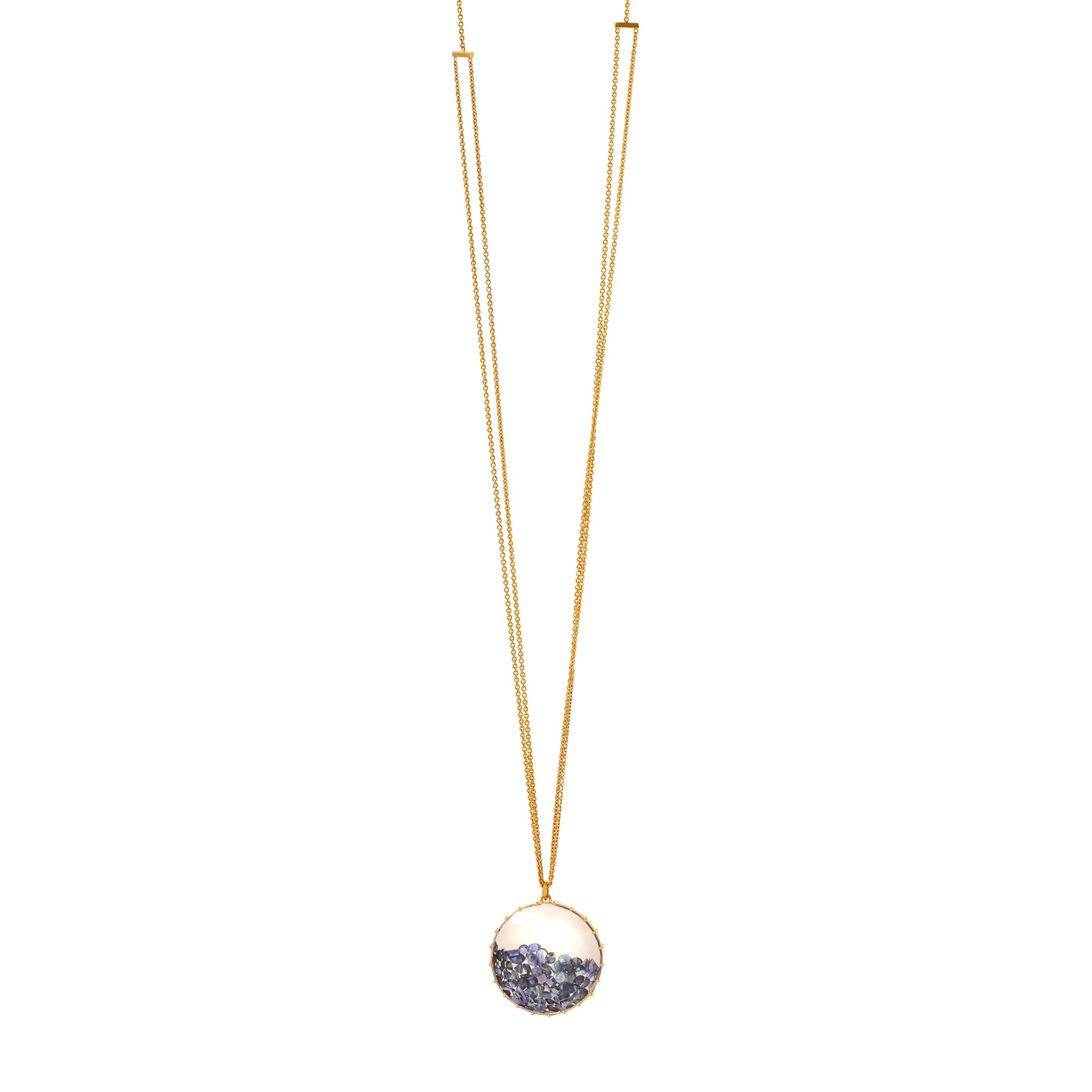 Renee Lewis Round Shake Necklace - Sapphire - Necklaces - Broken English Jewelry