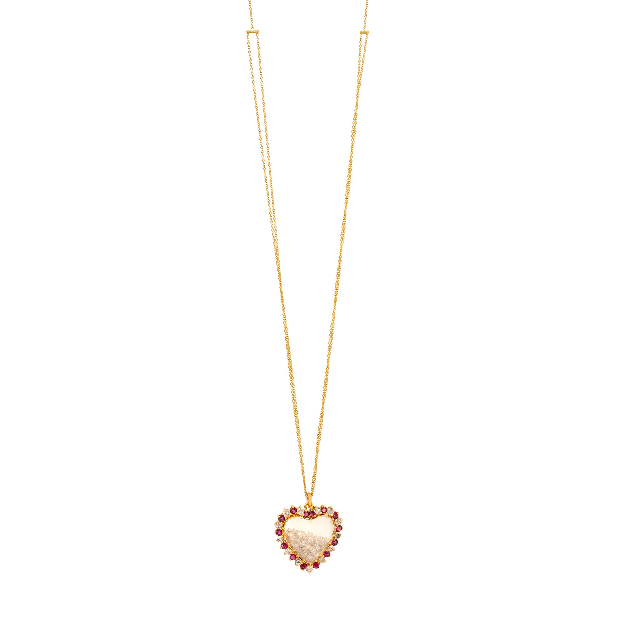 Renee Lewis Heart Shake Necklace - Ruby & Diamond - Necklaces - Broken English Jewelry